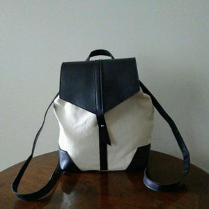 DEUX LUX Backpack Vegan Leather Canvas NWOT